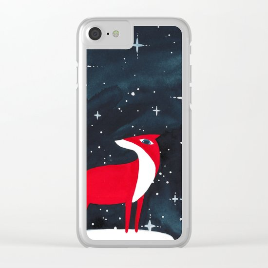 Merry Christmas! - Fox and stars Clear iPhone Case