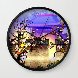 Cherry tree blossom in front of the temple Wall Clock
