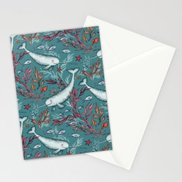 Narwhal Toile - teal blue Stationery Cards