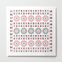 Math Geek Chic Number Pi In Red Black and White Metal Print