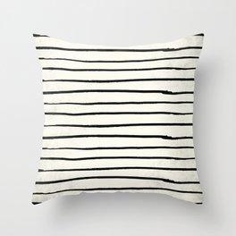 Horizontal Ivory Stripes II Throw Pillow