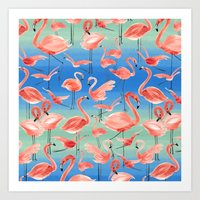 flamingos Art Prints featuring Flamingos  by Ninola