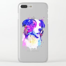 Border Collie watercolor, Watercolor Border Collie, Watercolor dog, Border Collie portrait Clear iPhone Case