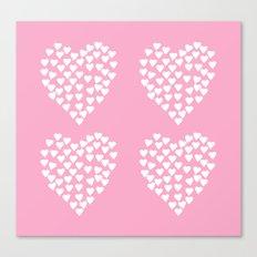 Hearts Heart x2 Pink Canvas Print