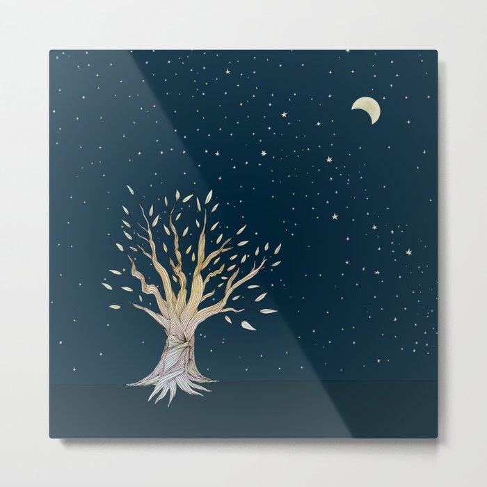 Moonlit Tree Metal Print