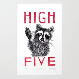 Raccoon High Five  Art Print