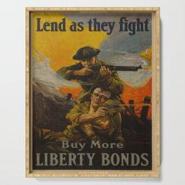 Vintage poster - Lend as They Fight Serving Tray