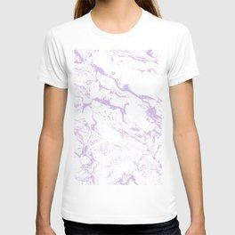Modern trendy white pastel purple lavender marble pattern T-shirt