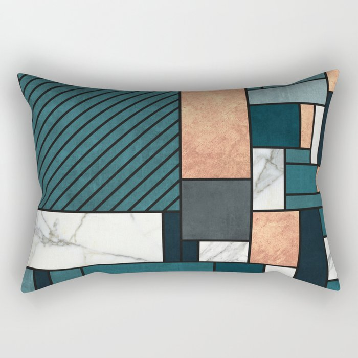 Random Pattern - Copper, Marble, and Blue Concrete Rectangular Pillow