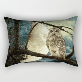 Barred Owl Bird Night Moon Blue Tans Country Art A137 Rectangular Pillow