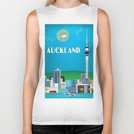 Auckland, New Zealand - Skyline Illustration by Loose Petals Biker Tank