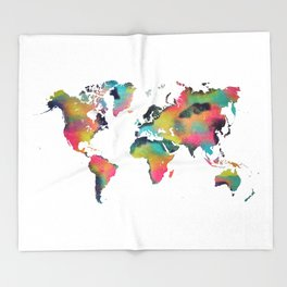 world map 3 Throw Blanket