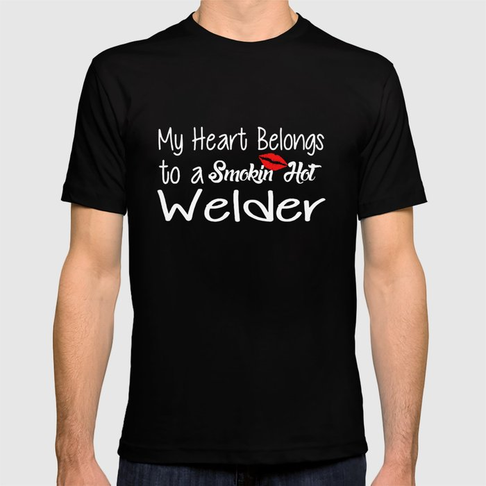 b4c1f8a1 Funny Smokin'hot Welder Proud Wife Girlfriend Union Home Husband Welder T-Shirts  T-shirt