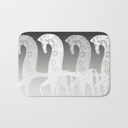 Horses in line - black and white - #society6 #buyart Bath Mat