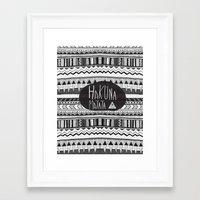 hakuna Framed Art Prints featuring HAKUNA MATATA  by Vasare Nar