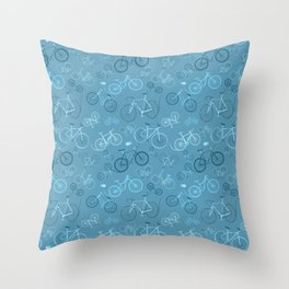 I love bikes in teal Throw Pillow