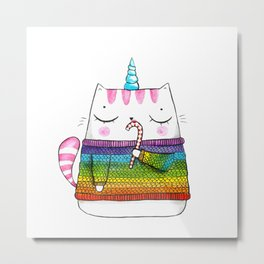 Rainbow Caticorn eating a candy cane Metal Print