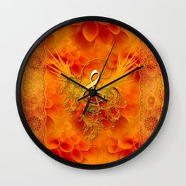 Clef with flowers Wall Clock