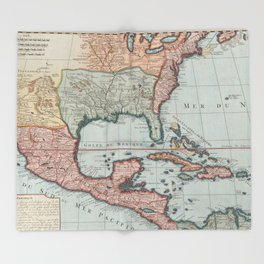 Vintage Map of The Gulf of Mexico (1732) Throw Blanket
