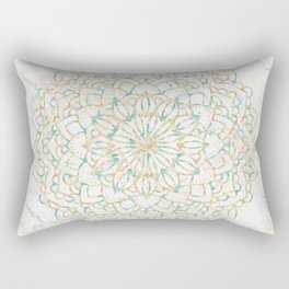 Marble Mandala Sea Shimmer Gold + Turquoise Rectangular Pillow