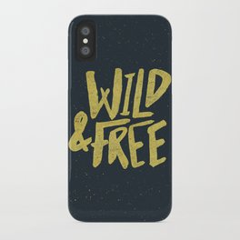 Wild and Free x Gold and Navy iPhone Case