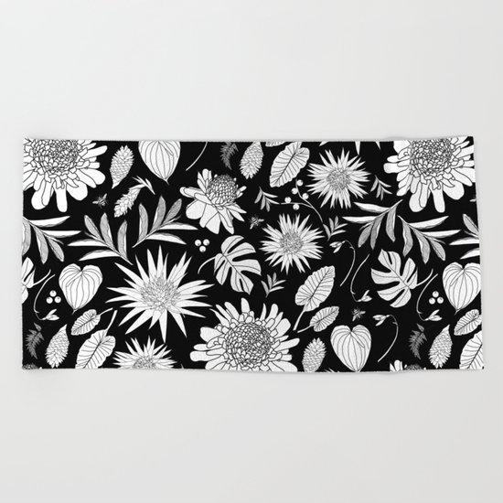 TROPICAL FLORAL BLACK & WHITE Beach Towel