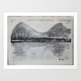 Black & White Mountains Art Print