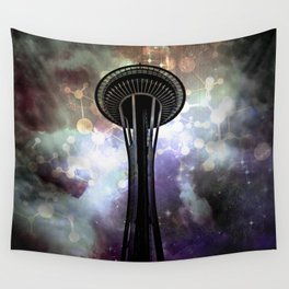 Space Needle - Seattle Stars and Clouds at Night Wall Tapestry