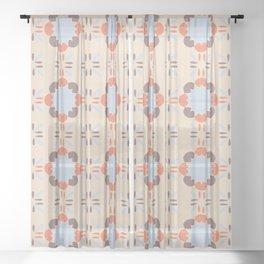 Blue Retro Tile Sheer Curtain
