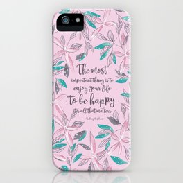 Flower of a brush touch design illustration / Pink iPhone Case