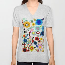 Rupydetequila whimsical floral art 2018 Unisex V-Neck