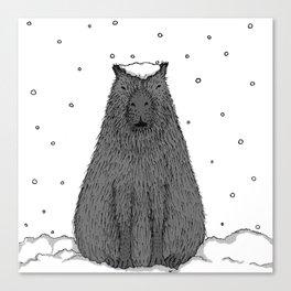 Capybara and Snow Canvas Print