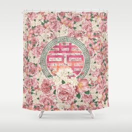 Double Happiness Symbol on  Peony pattern Shower Curtain