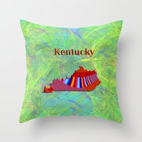 kentucky Throw Pillows featuring Kentucky Map by Roger Wedegis