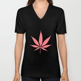 Peachy Cannabis Pot Leaf Pattern Unisex V-Neck