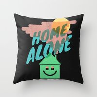 home alone Throw Pillows featuring Home Alone by Nick Nelson
