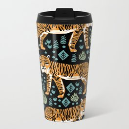 Tiger forest tropical tigers screen print art by andrea lauren Metal Travel Mug