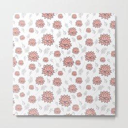 Pom Floral Pink Metal Print