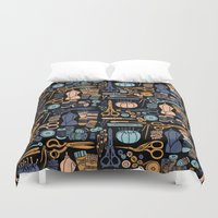 sewing Duvet Covers featuring Sewing Notions Block Print by Andrea Lauren Design