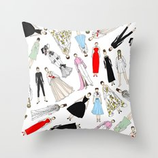 Audrey Hepburn Fashion (Scattered) Throw Pillow