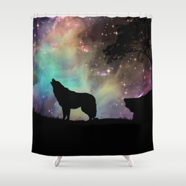 Galaxy wolf | Wolf | Powerful wolf | Wolf love | Wolfsbane | Lycan Shower Curtain