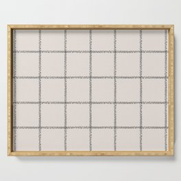 French Cream Linen Check Serving Tray