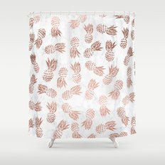 Modern faux rose gold pineapples white marble pattern Shower Curtain