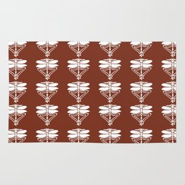 Copper Red Arts and Crafts Dragonflies Rug