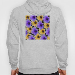 Playful Purple Lilac and Happy Yellow Floral Pattern Hoody