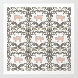 pig damask Art Print
