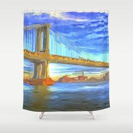 Manhattan Bridge Pop Art Shower Curtain