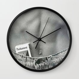 Pack of Parliament's, Bare Midriff black and white photograph / photography Wall Clock