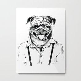 Hipster dog - Hand drawn, dog, fox, badger, panda, tattoo, hipster, animals, retro, vintage, Metal Print