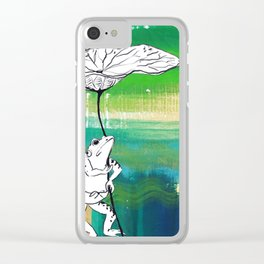 Frog with Lotus Umbrella Clear iPhone Case
